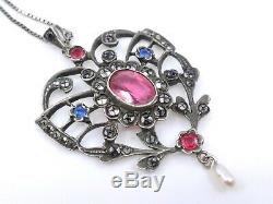 Superb Old Pendant In Sterling Silver And Rhinestone Heart XIX