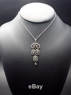 Superb Old Pendant In Sterling Silver Rhinestones And Blue Stones Xixeme