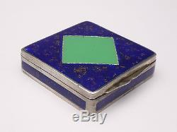 Superb Old Powder Box In Sterling Silver And Email Art Nouveau
