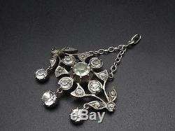Superb Old Sterling Silver Pendant And Rhinestones Lavallière XIX