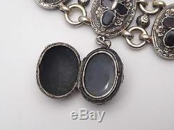 Superb Old Sterling Silver Vermeil Garnets Bracelet With Photo Holder Charm