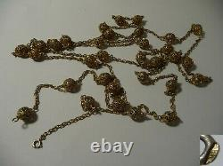 Superb Unusual Large Necklace Old Silver Gilt
