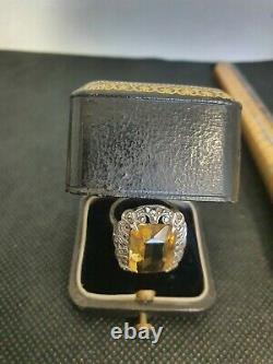 Tres Ancienne Ring Silver Massif Stone Citrine 6.6g E70