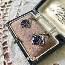 Tres Belles Anciennes Earrings In Silver Massif Used Natural Sapphire