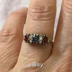 Trilogy Old Sapphire Ring Garnet Topaz Sterling Silver