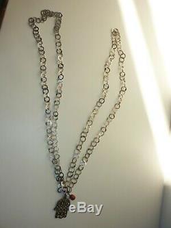 Tunisia Rihanna Khamsa Old 178 CM Silver Berber Tribal Coral Necklace