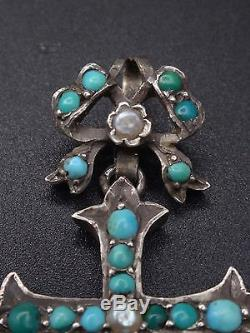 Very Beautiful Old Cross Sterling Silver Cabochons Turquoise And Pearls
