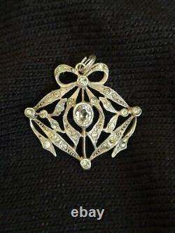 - Very Beautiful Old Pendant In Massive Silver And Strass Knot Napoleon III