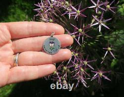 Very Rare French Pendant Antique XIX Enamel Thought Message Rebus Solid Silver