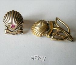 Veterans And Authentic Lot Of 2 Small Cartier Jewelry In Sterling Silver Vermeil