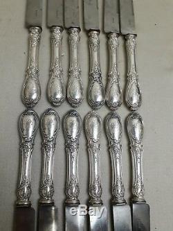 12 GRANDS COUTEAUX ancien en ARGENT MASSIF minèrve Louis XV rocaille PARIS