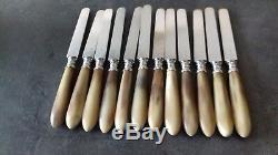 12 couteaux anciens à dessert ou à fromage lame argent