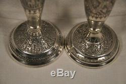 2 Bougeoirs Ancien Argent Massif Persian Islamic Solid Silver Candlesticks 398gr