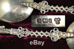 2 Cuillere Ancien Argent Massif Vermeil Antique Spoon Coin Silver Sheffield 1911