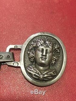 ANCIEN BOUTON DE CAPE EN ARGENT MASSIF SILVER SILBER POINÇON 19e BACCHUS