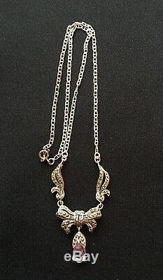 ANCIEN COLLIER EN ARGENT MASSIF 925 avec AMETHYSTE& Marcassites/NECKLACE Silver