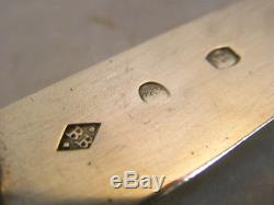 ANCIEN RARE COUVERT VOYAGE ETUI GALUCHAT COUTEAU NACRE ARGENT MASSIF KNIFE 18 èm