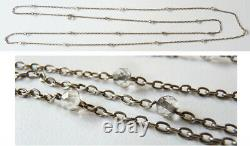 ANCIEN Sautoir collier chaine en argent massif + perles en cristal silver chain