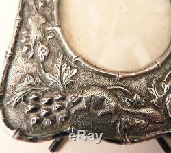 ANCIEN petit cadre porte-photo argent massif silver frame écureuil squirrel
