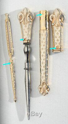 ARGENT VERMEIL or Ancien nécessaire de couture Antique sewing silver Fleurs lys