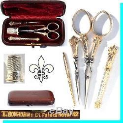 ARGENT VERMEIL or Ancien nécessaire de couture à coudre scissors Fleur lys boîte