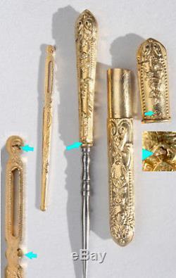 ARGENT VERMEIL or Ancien nécessaire de couture brodeuse poinçon ciseaux XIXème