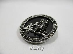 Ancien Bijou Broche Chouette Argent Massif Onyx Et Marcassite Brooch Jewel Pin