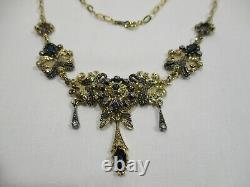 Ancien Bijou Collier En Argent Vermeil Et Pierre Taillee Jewelry Necklace Silver