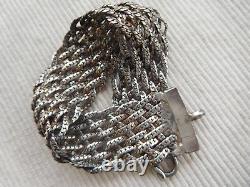 Ancien Bracelet En Argent Massif Cygne 19 Cms 37 Grammes Maille Ruban Tresse B78