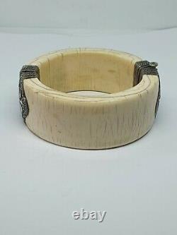 Ancien Bracelet Jonc Manchette En Argent Massif Et Matiere Noble