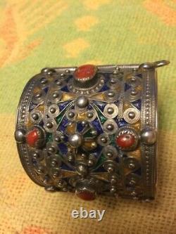 Ancien Bracelet Kabyle Argent Corail et Émail XIXe. 140g Ethnique N°2