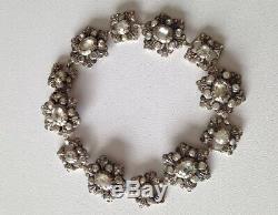 Ancien Bracelet XIXéme Argent Massif pierres blanches & vertes