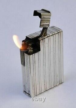 Ancien Briquet a essence Argent massif Vintage Solid Silver Petrol Lighter