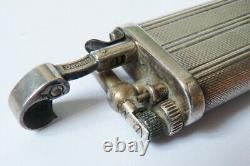 Ancien Briquet à gaz DUNHILL England en argent massif silver lighter 84 gr