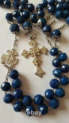 Ancien Chapelet Argent Massif Perles Lapis Lazuli