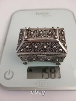 Ancien Coffret en Argent Massif Filigrané Box Silver filigree