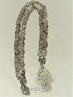 Ancien Collier Artisanal Sautoir Argent Main De Fatma Maghreb Afrique Du Nord
