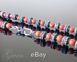 Ancien Collier XIX Perles Ouvragées Argent Massif et Perles de Corail 54 cm