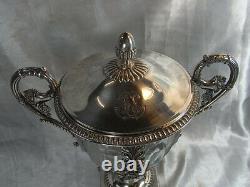 Ancien Confiturier Drageoir Sucrier Argent Massif Vieillard Cristal Empire
