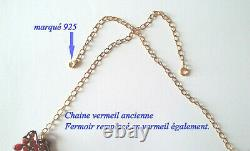 Ancien Diademe Corail Argent Massif 1820-1850 Antique Diadem Tiara Silver Gilded