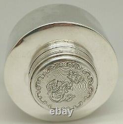 Ancien Encrier Argent Massif Poinçon Minerve Gravure Fioritures Old Silver