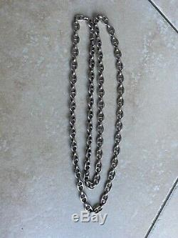 Ancien Long Collier Chaîne Sautoir grain de café En Argent Massif 925 78gr
