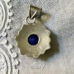 Ancien Pendentif Enorme Saphir, Black Opale, Argent Massif Créateur, Ouvragé