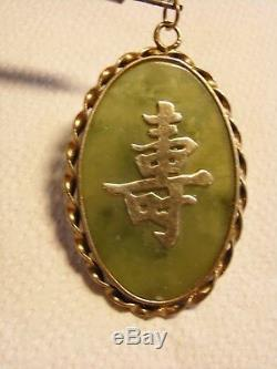 Ancien Pendentif Jade Argent Massif Vermeil Or Bijoux Chine Chinese Jewel