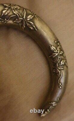 Ancien Rare Pommeau Manche de canne ombrelle Décor Art Nouveau en argent massif