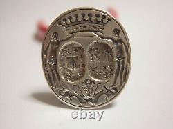 Ancien Sceau cachet argent massif armoiries -18e siècle