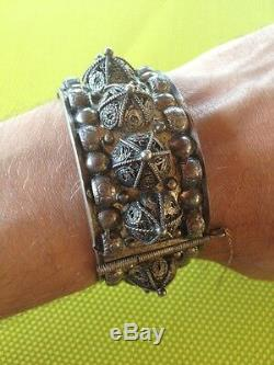 Ancien bracelet argent Yemen poinçon Crabe