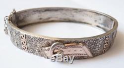 Ancien bracelet argent massif 19e siècle silver forme ceinture
