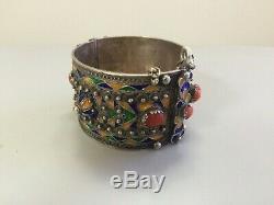 Ancien bracelet berbère argent massif émaillé corail Kabyle Algérie Maroc