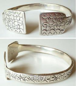 Ancien bracelet cheville ethnique argent massif Maghreb Tunisie silver 134gr